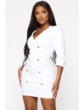 Wrapped In Denim Mini Dress   White by Fashion Nova