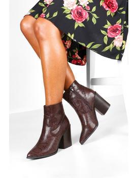 Snake Block Heel Pointed Toe Western Boots by Boohoo