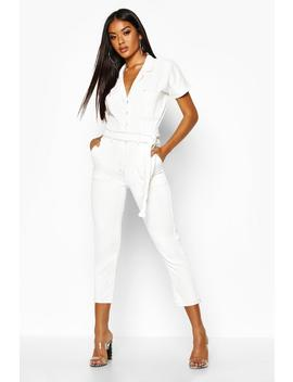Tie Waist Contrast Stitch Boilersuit by Boohoo