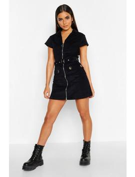 Petite Belted Cord Utility Dress by Boohoo