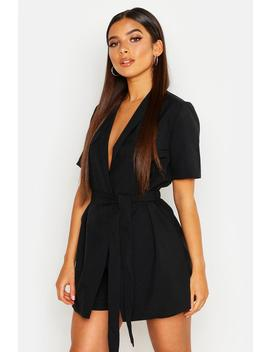 Petite Utility Belted Playsuit by Boohoo