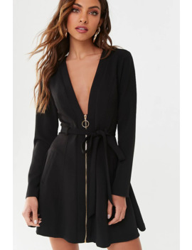 Zip Front Blazer Dress by Forever 21