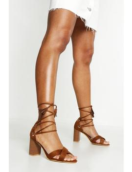 Extra Wide Fit Lace Up Block Heels by Boohoo
