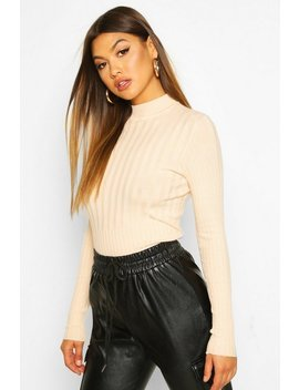 Rib Knitted High Neck Top by Boohoo