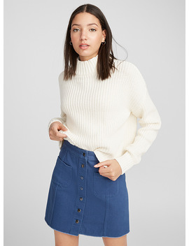 Ribbed Knit Cropped High Neck by Twik
