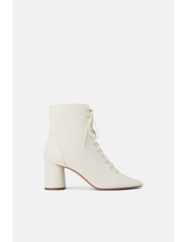 Leather Laced Heeled Ankle Boots Booties Woman Shoes by Zara