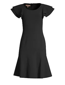 Stretch Wool Flutter Sleeve Flare Dress by Michael Kors Collection
