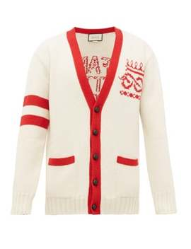 Far Better Not Slogan Jacquard Wool Cardigan by Gucci