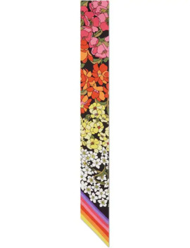 Gg And Flowers Print Silk Neck Bow by Gucci