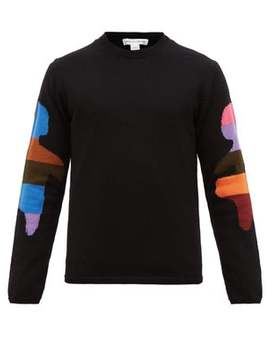 Patchwork Arm Jacquard Wool Blend Sweater by Comme Des Garçons Shirt
