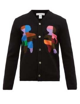 Figure Intarsia Wool Blend Cardigan by Comme Des Garçons Shirt