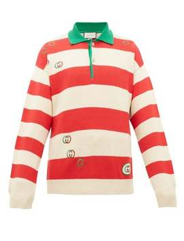 Gg Striped Cotton Polo Sweater by Gucci