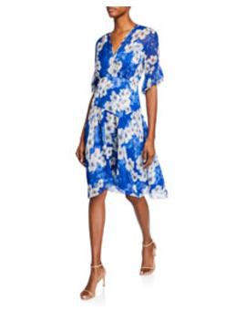Ava Floral Print Surplice Short Sleeve Silk Dress by Elie Tahari