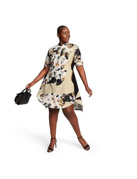 Women's Plus Size Floral Print Short Sleeve Crewneck Zip Front Shirtdress   3.1 Phillip Lim For Target by Front Shirtdress