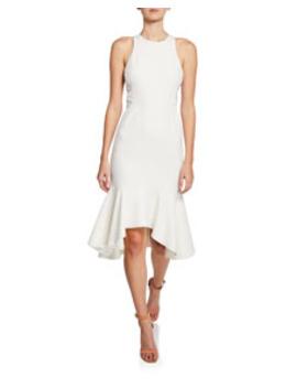 Sleeveless Flounce Hem Dress With Twist Detail by Halston