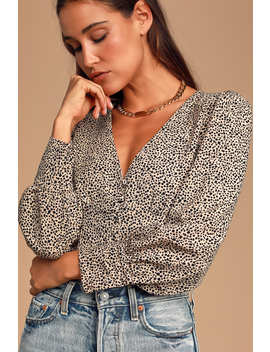 Sweet Spot Taupe Cheetah Print Long Sleeve Button Up Top by Lulus