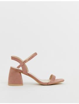 Glamorous Blush Block Heeled Sandals by Glamorous