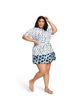 Women's Plus Size Shibori Print Elbow Sleeve Button Front Mini Shirtdress   Thakoon For Target White/Blue by Front Mini Shirtdress