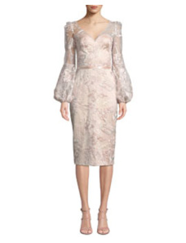 V Neck Lantern Sleeve Sequin Embroidered Lace Illusion Dress by Theia