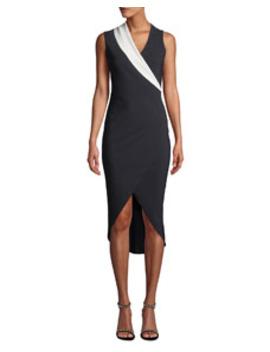 Jette Longette Asymmetric High Low Dress W/ Contrast Lapel by Chiara Boni La Petite Robe