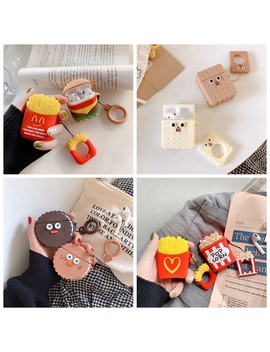 For Air Pods Case 3 D Cute Biscuits Cola Burger Earphone Cases For Apple Airpods 2 Funny Protect Cover With Finger Ring Strap by Ali Express.Com