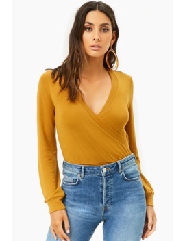 Banded Purl Knit Surplice Top by Forever 21