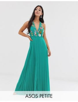 Asos Design Petite Maxi Dress With Pleat Skirt And Embroidered Bodice by Asos Design