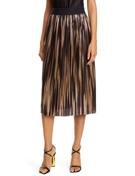 Mikaela Metallic Pleated Skirt by Alice + Olivia