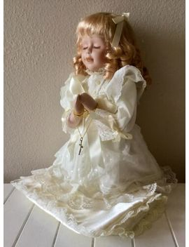 """New Vintage Porcelain 12"""" Brianna Praying Doll W/Gold Cross & Chain & Cushion by Heritage Signature Collection"""
