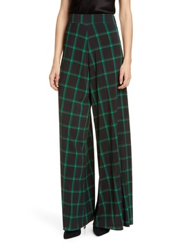 Athena Tartan Wide Leg Flare Pants by Alice + Olivia