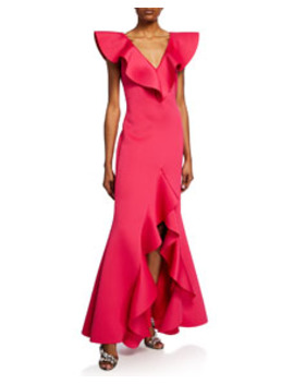 V Neck Scuba High Low Ruffle Gown by Badgley Mischka Collection