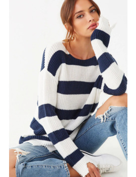 Distressed Striped Ribbed Sweater by Forever 21