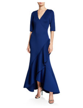 V Neck Elbow Sleeve High Low Scuba Gown by Badgley Mischka Collection