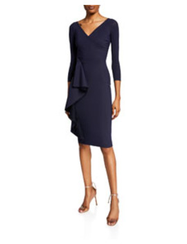 Fadile V Neck 3/4 Sleeve Dress With Side Ruffle Detail by Chiara Boni La Petite Robe