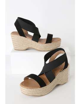 Cherie Black Suede Platform Espadrille Sandals by Lulu's
