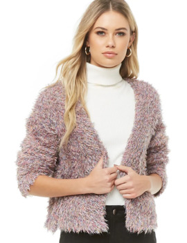 Multicolor Fuzzy Knit Cardigan by Forever 21