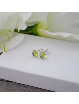 Genuine Peridot Stud Earrings * 925 Sterling Silver * 6 Mm * Gift For Her * Minimalist * Genuine Gemstone * August Birthstone * Green Stud by Etsy