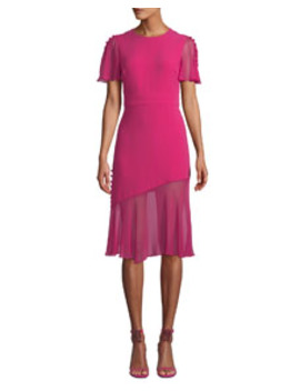 Victoria Fluttered Sheer Sleeve Midi Dress by Prabal Gurung