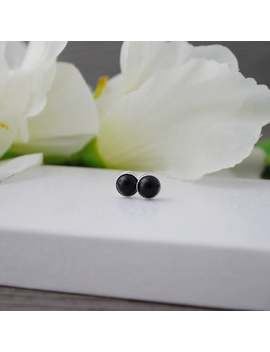 Black Onyx Stud Earrings * 925 Sterling Silver * 6 Mm * Gift For Her * Minimalist * Genuine Gemstone * Onyx * January Birthstone * Love by Etsy
