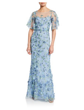 Sweetheart Illusion Flutter Sleeve Embroidered Tulle Gown W/ 3 D Flowers by Marchesa Notte