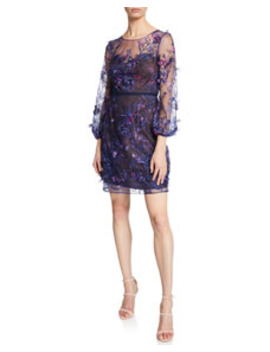 Sweetheart Illusion 3/4 Sleeve Embroidered Dress With 3 D Flowers by Marchesa Notte