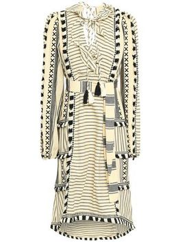 Fringe Trimmed Embroidered Striped Cotton Gauze Dress by Dodo Bar Or