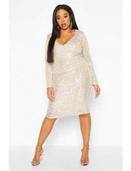 Plus All Over Sequin Ruched Midi Dress by Boohoo