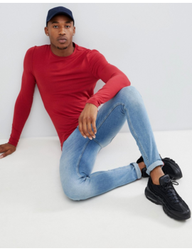 Asos Design Muscle Fit Long Sleeve Crew Neck T Shirt In Red by Asos Design