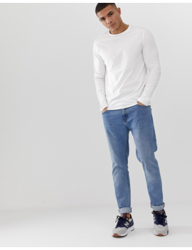 Asos Design Organic Long Sleeve Crew Neck T Shirt In White by Asos Design