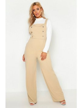 Plus Button Detail Pinafore Tailored Jumpsuit by Boohoo
