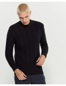 Blue Cable Knit Long Sleeve Sweater by Superdry