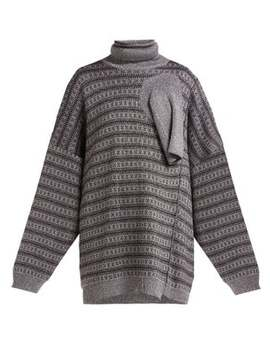 Draped Panel Lamé Jacquard Sweater by Raf Simons