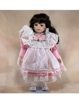 """Collector's Porcelain Girl Doll 16"""" Dark Brown Hair Blue Eyes With Stand by Ebay Seller"""