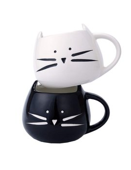 Tayyakoushi 2 Pack Funny Cute Cat Coffee Mugs For Crazy Cat Lovers Cat Ceramic Cups For Coffee Tea Milk, Black And White Coffee Cup Mug Tea Cup For Office And Home Perfect Gift by Tayyakoushi